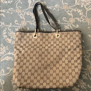 Gucci Beige Canvas and leather tote